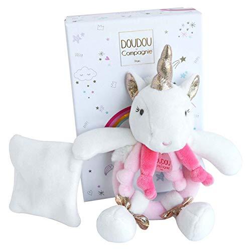 Doudou et Compagnie - Doudou Hochet Bébé Licorne Avec Doudou - 17 cm -Blanc/ Rose - Cadeau De Naissance - Jolie Boîte Cadeau - Lucie La Licrone - DC3310