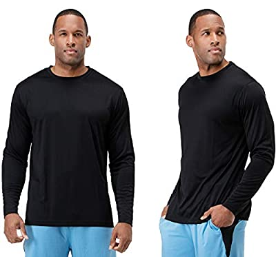 DEVOPS Men's 2 Pack UPF 50+ Sun Protection Long Sleeve Dri Fit Fishing Hiking Running Workout T-Shirts (Large, Black)