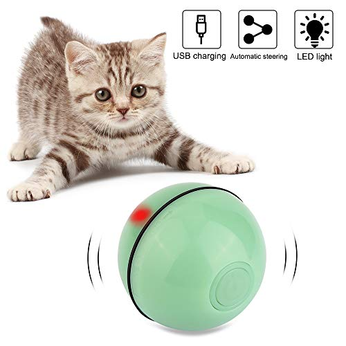 Vegena Katzenspielzeug Elektrisch Ball mit LED-Licht, Interaktives Katzenball Glitzer Automatisch Katzenspielzeug Wiederaufladbares USB-katzenbälle (Grün)