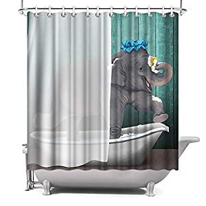 ArtBones Animal Elephant Shower Curtain Bathing Elephant Kids Children Bathroom Decor with Hooks 72x72inch Teal Blue