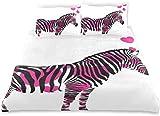 Juego de Funda nórdica Zebra Enamorada Figura con Corazones Pastel San Valentín Aniversario de Bodas Juego de Cama Decorativo de 3 Piezas con 2 Fundas de Almohada