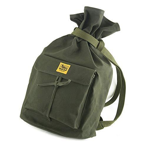 復刻版 マタギバッグ 『 サブロー 』 M サイズ (6号 帆布 パラフィン 加工 : グリーン)