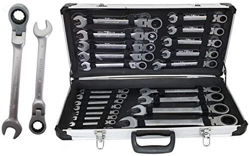 Kraftwelle Gelenk Ratschenschlüssel Ring Maul Ratsche Schlüssel Satz 6-32mm Werkzeug 22 TLG
