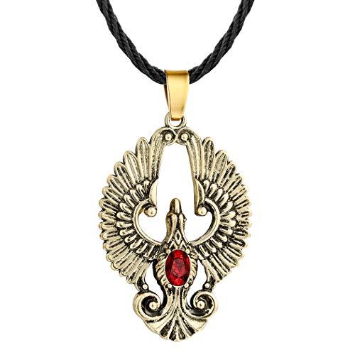 AILUOR - Collar de Acero Inoxidable con Colgante de rubí fénix de Cuero escandinavo Antiguo gótico Vikingo eslavo Amuleto pájaro de Wonder Animal Collar de Moda joyería para Mujeres y Hombres
