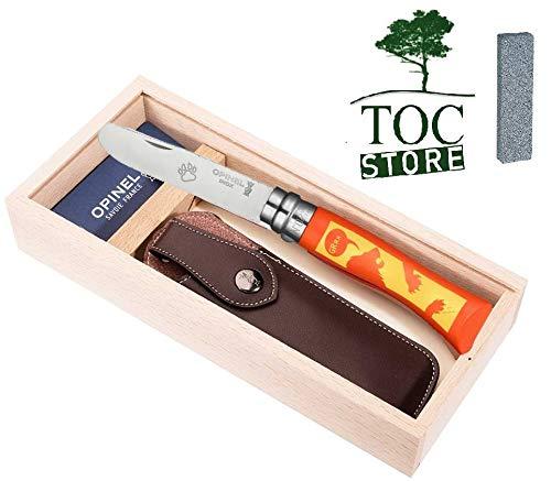 TOC STORE Opinel Kindermesser Set Motiv Löwe inkl. Etui und Geschenkbox aus Holz