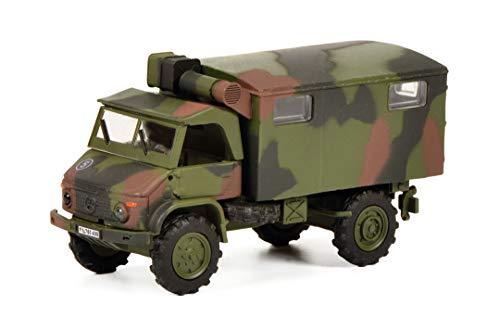 Schuco 452652800 Unimog S404 Bundeswehr, mit Kofferaufbau, Modellauto, Maßstab 1:87, Tarnfarbe