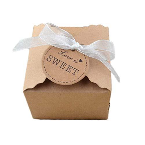 50 Piezas Caja de Regalo de Papel Kraft, Cajas de Dulces para Bodas, Caja de Papel Kraft con Hilo de gasa, para Embalaje de Regalo, Regalos de Fiesta de Cumpleaños, Regalos de Festival (Hilo Gasa)