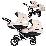 Kunert cochecito de bebé Carrito para gemelos carrito gemelar BOOSTER silla de paseo silla de coche asiento de bebé juego completo 2 en 1 (Crema, 2en1)