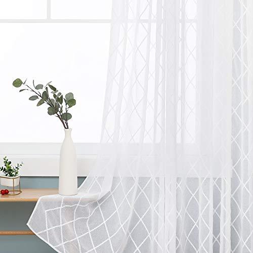 Deconovo Vorhang Leinenoptik Transparent Dekoschal Stores Gardinen schals Wohnzimmer Schlafzimmer mit Ösen 175x140 cm Weiß 2er Set