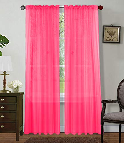 Sapphire Home 2 Panels Window Sheer Curtains 54' x 63' Inches (108' Total Width), Voile Panels for Bedroom Living Room, Rod Pocket, Decorative Curtains, Solid Sheer Curtains Hot Pink