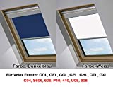 plisseeonline Dachfensterrollo für VELUX GGL GPL GHL Gel GTL GDL GXL Blickdicht Thermoschutz (Weiß, P10/410)