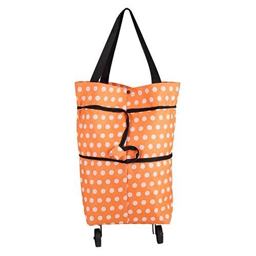 Faltbare einkaufstaschen-Oxford Tuch Material Faltbare Rad roll Einkaufstasche orange Farbe mit Punkten