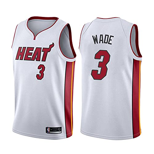 KKSY Camiseta Dwayne Wade - Miami Heat #3 Swingman Edition Jersey, Ropa Deportiva, Camiseta de Baloncesto Sin Mangas Unisex,C,M