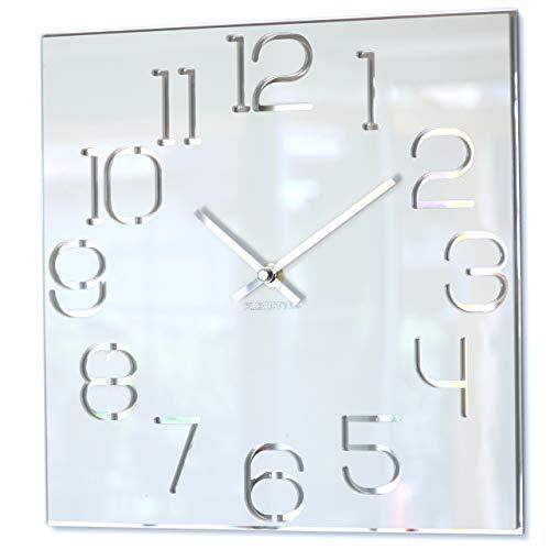 Wanduhr quadratisch Digit 30 cm Durchmesser, ohne tickgeräusche modern, Design Acrylglas und Acrylspiegel, Wohnzimmer, Schlafzimmer (Weiß)