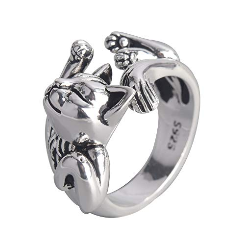 CANEER Cat Ring, plated Silver Cute…