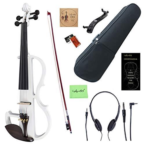 Amdini 4/4 Bianca Colorato Kit per Violino Elettrico/Silenzioso in Legno Massello con Raccordi in Ebano (Dimensione Completa)