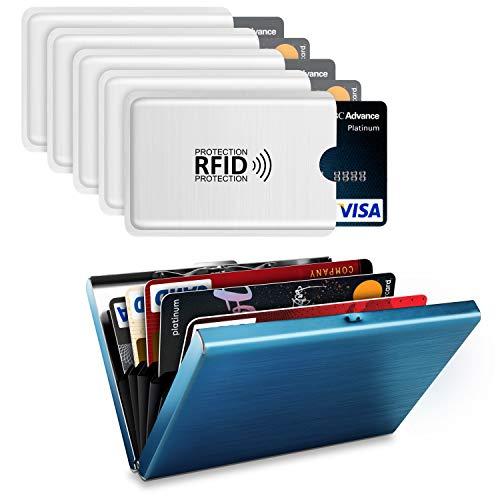 Gnews RFID Blocking Porta Carte di Credito, Proteggi Carte di Credito in Alluminio (Blu) + 5 Pezzi Custodie blocco RFID Protection per Carte di Credito, Carta d'identità e Badge del Lavoro