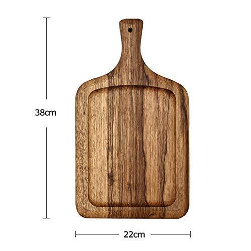 Wghz Tagliere di Legno Tondo/Quadrato Tagliere per Pizza in Legno Grande Tagliere per Dolci Teglia per Piatti Tagliere per Cucina Posate in Legno - 1