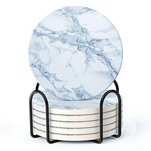 LIFVER Untersetzer für Getränke, Saugfähige Untersetzer im weißen Marmorstil mit Halter, Einweihungsgeschenke für die Inneneinrichtung, geeignet für Tassenarten, 10 cm, 6er-Set