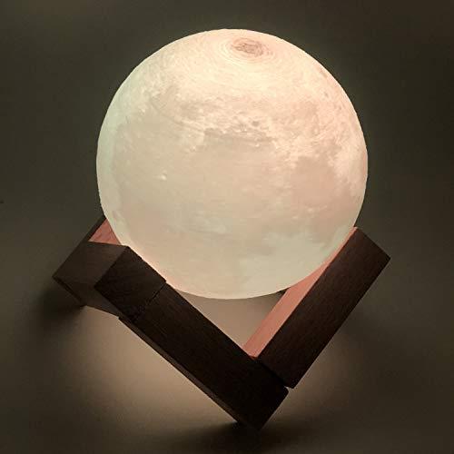 Mond Lampe, 3D Mondlampe und Nachtlicht, Dimmbar Touch Control Helligkeit Licht für Home Dekoration und Geschenke mit USB, 3 Farbeinstellungen und Touch-Steuerung