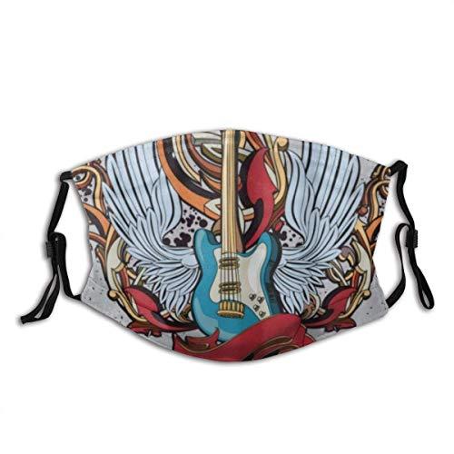 Gesicht Mundschutz geflügelte Gitarre Gra-ffiti Emblem Sturmhaube Unisex Wiederverwendbare Winddichte Anti-Staub-Mund-Bandanas