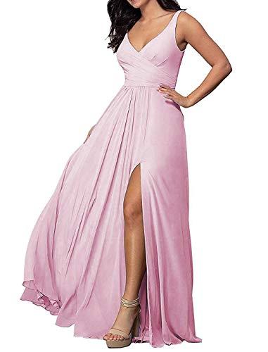 PEARL BRIDAL HOUSE Women's Long Chiffon Prom Dress 2019 Sleeveless Wedding Formal Dresses Pink Size 10