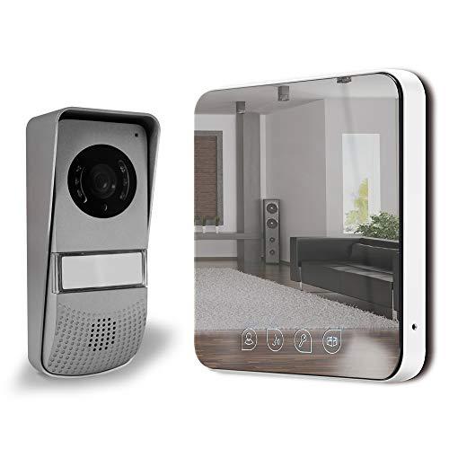 """Extel - Visiophone - Visio ultra plat design """"effet mirroir"""", fonction monitoring, surveillance possible en Vision Nocturne, 9 sonneries disponibles, Portée Platine/moniteur max: 10 m - 642277"""