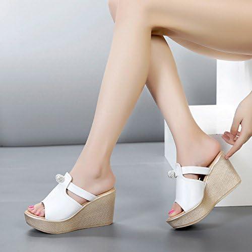GTVERNH-8 Des Talons Hauts Des Coins Des Des Des Pantoufles Semelles épaisses Chaussures D'été Les Sandales Pantoufles De Blanc Quarante - Et - Un 8f7