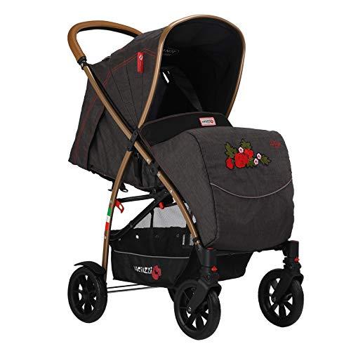 Baciuzzi, passeggino accessoriato con ruote grandi, manico rialzato, chiusura pratica ad una mano, traspirante e full optional, Bxt Tango ricamato