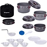 KingCamp Camping Cookware Mess Kit, Backpacking Cooking Set, Outdoor Camp Gear Accessories for Family Hiking Picnic Lightweight Cookware Sets (17 Pcs (Hard Anodized Aluminum))