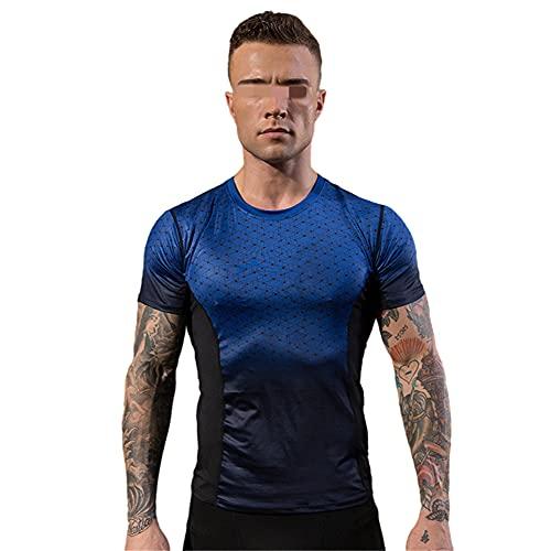Correr Shirt Hombre Verano Cuello V Ajuste Delgado Moderno Hombre Compresión Shirt Básico Elástico Hombre Funcional Shirt Casual Deporte Secado Rápido Manga Corta D-Blue XL