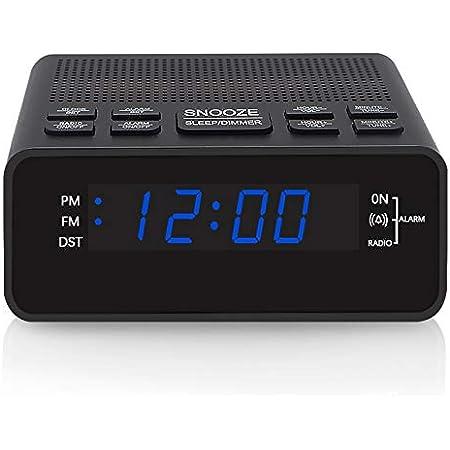 Jingsense Digital Alarm Clock Radio, AM/FM Radio with Preset, 12/24H, DST, Sleep Timer and Dimmer for Bedroom…