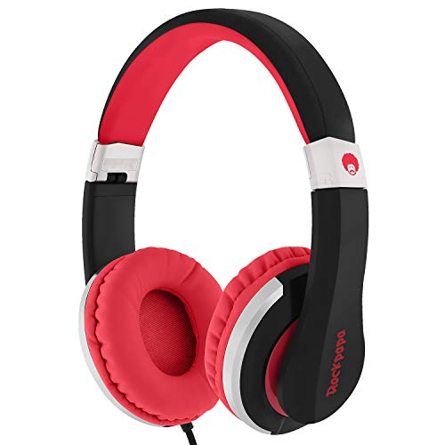 ROCKPAPA I22 Foldable Adjustable On Ear Headphones with Microphone for Kids/Adults, Laptop Tablet MP3/4 DVD Mobile in Car/Airplane Black/Red