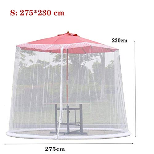 Nfudishpu Umbrella Mosquito Netting-Light Weight Zippered Mesh Enclosure Cover, with Zipper Opening, for Patio Table Umbrella Outdoor Garden, Helps Protect from Mosquitoes