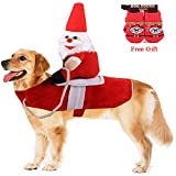 Vikedi Dog Christmas Costumes, Dogs Santa Claus Costume with Dog Socks, Adjustable Pet Christmas Clothes Running Santa Claus Riding on Pet, Pet Costumes Apparel for Medium and Large Dog Dress Up