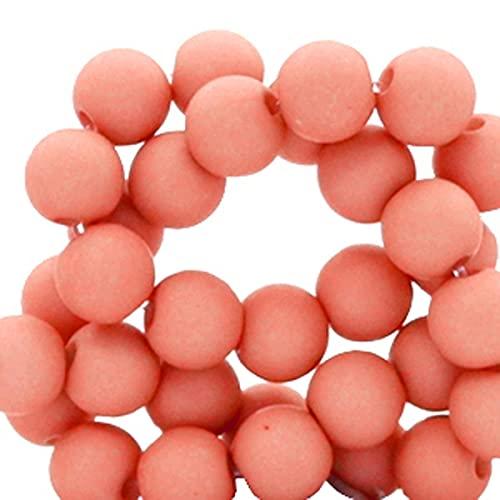 Sadingo Juego de perlas de 6 mm, 600 unidades, color rojo coral, para manualidades, mezcla de perlas rojas, perlas de plástico con agujero