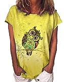 Camisetas con Estampado de búhos para Mujer Camisetas de Manga Corta con Cuello Redondo y Estampado de Dibujos Animados de Star Moom