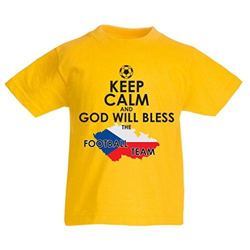 N4495K La Camiseta de los niños God Will Bless Czech National Team (9-11 Years Amarillo Multicolor)