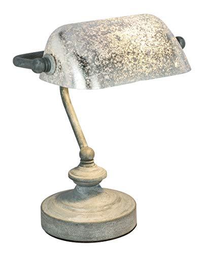Elegante lámpara de escritorio'estilo antiguo' tipo lámpara de banquero decorativa acabado gris cemento con difusor hoja de plata Ref. 234-2952