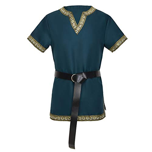 dream cosplay Medieval Caballero Camiseta Vikinga Pirata Túnica,Verde
