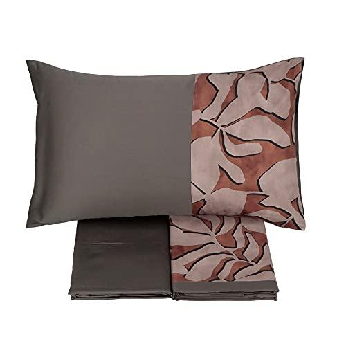 Somma Juego de sábanas Atena para cama de matrimonio, 250 x 290 cm, de raso de algodón y plomo