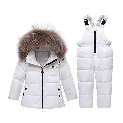Amropi 2-częściowy kombinezon zimowy z kapturem, puchowa kurtka na śnieg, jazdę na nartach, spodnie zimowe, zestaw ubrań dla dzieci, dziewczynek w wieku 1-5 lat, biały, 4-5 Lata