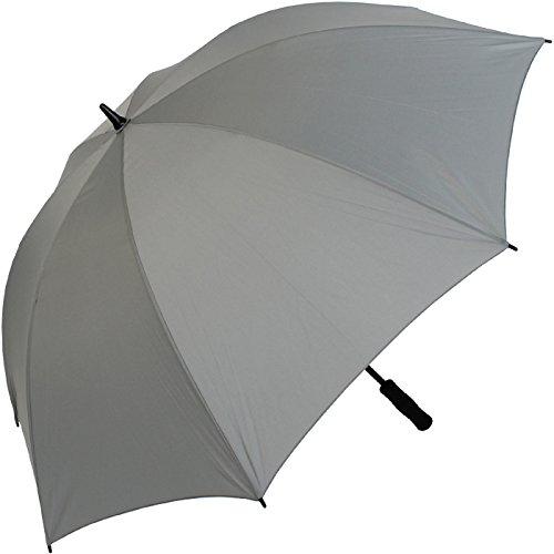 iX-brella Leichter Voll-Fiberglas- Regenschirm für 2 Personen - Größe XXL - sehr stabil - Golfschirm (Grau)
