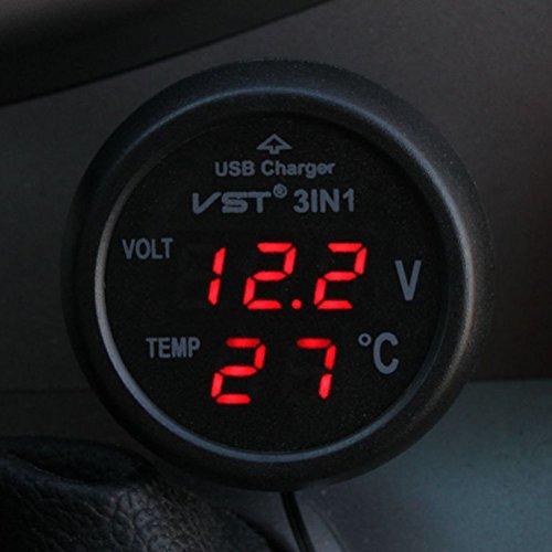 winomo Chargeur USB voiture 12–24 V fiche allume-cigare avec socle USB Voltmètre Thermomètre pour voiture camion Fermeture Éclair (Rouge)