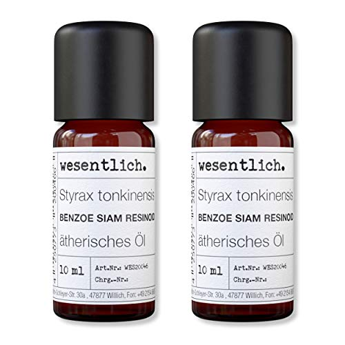 wesentlich. Benzoe Siam - ätherisches Öl - 100% naturrein (Glasflasche) - u.a. für Duftlampe und Diffuser (2x10ml)
