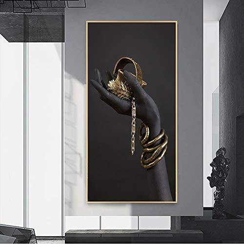 Mujer negra africana Manos sujetan Pulsera de oro Joyería Fotos HD Lienzo Pintura Arte de la pared...
