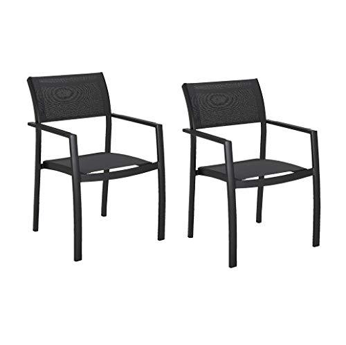 Muebletmoi - Juego de 2 sillas de jardín apilables de aluminio y textileno negro - Evana