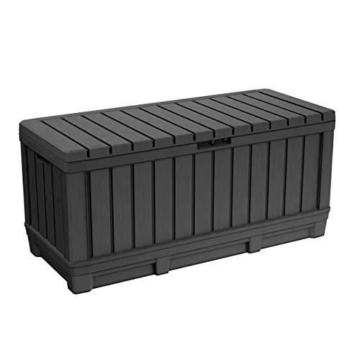 Keter Kentwood 90 Gallon Resin Deck Box-Organization and Storage for Patio Furniture Outdoor Cushions, Throw Pillows, Garden Tools and Pool Toys, Graphite