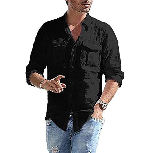 FOTBIMK Camisa de los hombres holgada algodón lino bolsillo sólido manga larga retro camisetas Tops blusa M-3XL