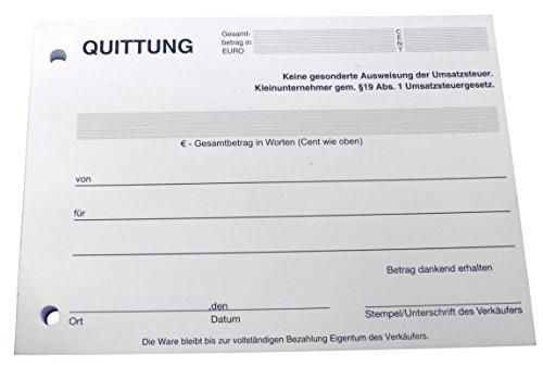 1x Block Quittung - Quittungsblock für Kleinunternehmer (§19) - 100 Blatt DIN A6 - gelocht - NICHT durchschreibend (22426)